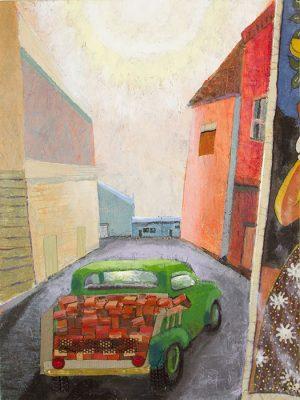 A Truckload of Bricks in the Soft Morning Light 36x24, Jon Taner, Mixed Media Artist