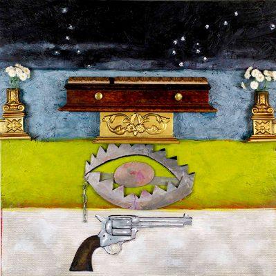 Its Night, its death, its a trap, its a gun  24x20, Jon Taner, Mixed Media Artist