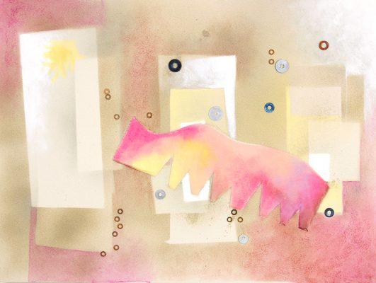 Pink Elephant - 30x40, Jon Taner, Mixed Media Artist