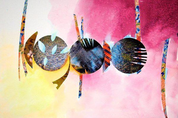 Three Orbs of Water  -  13.5 x 19, Jon Taner, Mixed Media Artist
